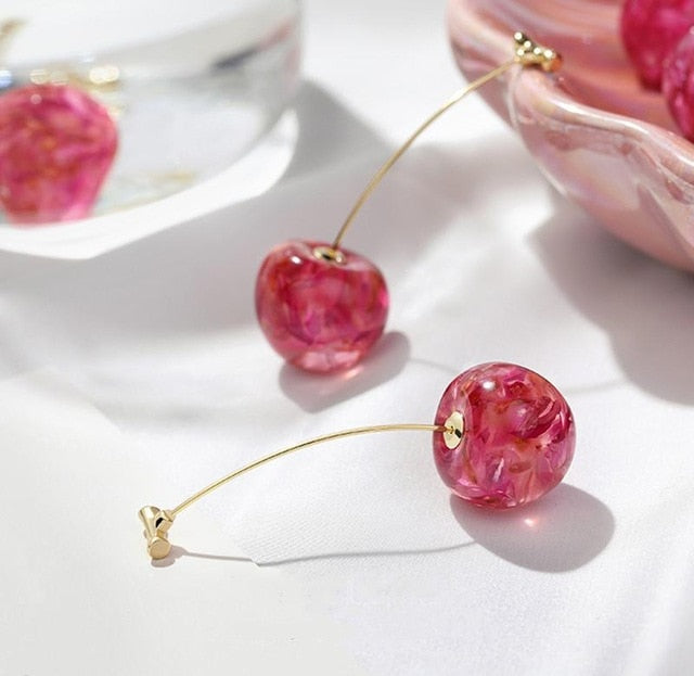 Golden Cherries - Gold Acrylic Earrings