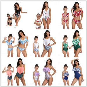 Mother Daughter Swimsuit  Panda in Mommy and Me Swimsuit printing piece double lotus leaf Parent-Child Swimwear Family matching