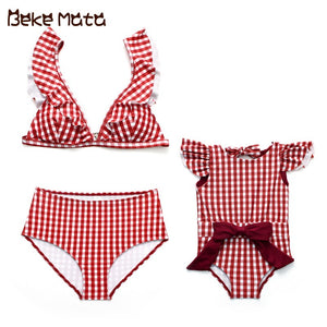 Mom And Daughter Swimsuits Plaid Mommy And Me Clothes Family Look Mother Daughter Swimwear Bow Matching Mum Girl Bikini Suit