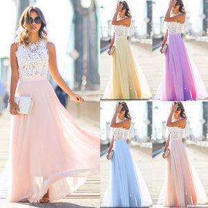 Dropshipping Women Boho Lace Maxi Dress 2019 Summer Ladies Sleeveless Hollow Out Long Sundress Beach Evening Party Dresses S-XXL