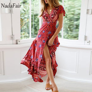 Nadafair Vintage Floral Print Boho Dress Women Sexy Maxi Beach Summer Dress Vestidos Short Sleeve Sash Split Retro Long Dress