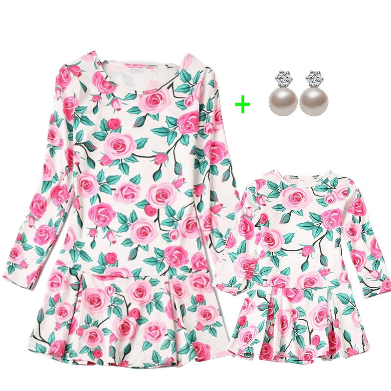 Long Sleeve Family Matching Clothes Floral Printed Mommy And Me Dress 2019 Autumn Cotton Look Mother And Daughter Dresses Sets