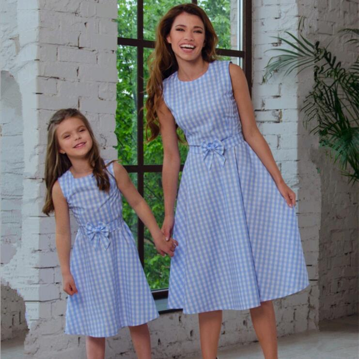 Plaid Mother and Daughter Vest Dress Family Look Mom Daughter Matching Dresses Outfits Mommy and Me Clothes Family Clothing ST