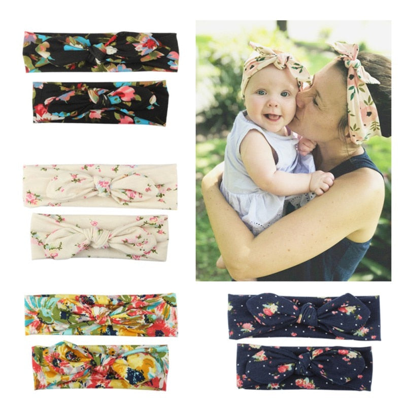 2pCS/ Set Mom and Me Headband Hair Band Bow Knot Headbands Baby Infant Toddler Hair Accessories Turban Baby Mommy Headwrap
