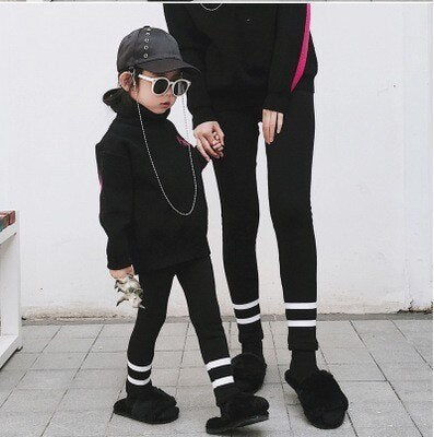 Mother & Kids Pants Thicken Mother And Daughter Leggings Fashion Winter Slim Warm Mommy And Me Clothes Trousers Family Look New