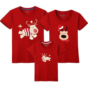 2019 Christmas Family Look Deer Mommy and Me Clothes Cartoon Matching Family Clothing Sets Mother Daughter Father Baby T-shirt