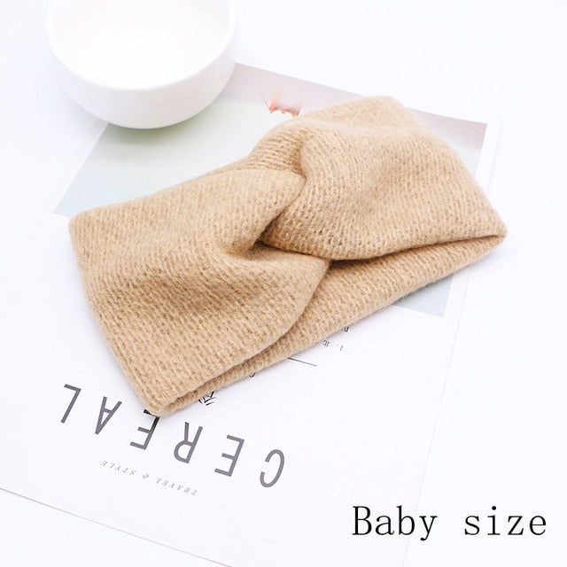 Baby Headband Women Girl Twisted Hair Band Kids Woolen Headwrap Mommy and Me Headbands Toddler Winter Turban Hair Accessories