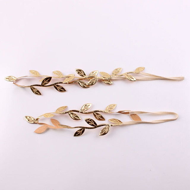 2Pcs/Set New Mom and Newborn Gold Leaf Headband Set For Hair accessories Matching Headband Kids and Mommy Headwrap Gifts