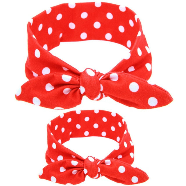 2Pcs/Set Mommy and me Matching Headbands Photo Prop Gift for Mom and Kids Rabbit Ears Elastic Cloth Bowknot Headband Accessories