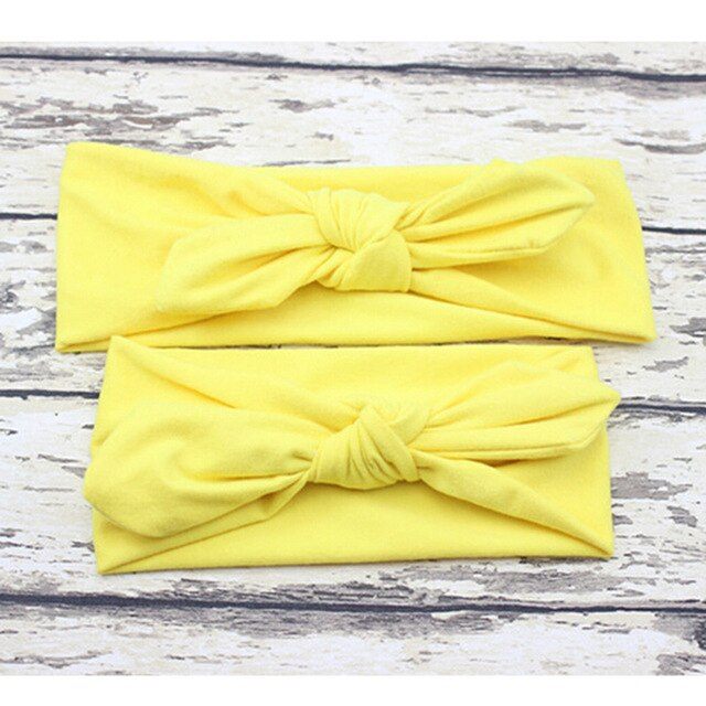 2PCS/Set Mom and Me Headband Bows Bunny Ears Cotton Headbands Kids Hair Accessories Newborn and Mommy Headwear Hair Bands
