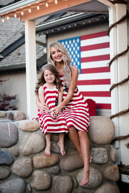 July 4th Family Matching Dress Mother Daughter American Flag Stripe Tassel Summer Dresses Mommy And Me Dresses Family Outfits