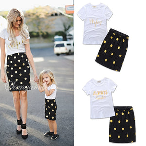 Mum Mama Mother and Daughter Matching Clothes Mommy and Me Dresses European Style Familly Look Set Outfits Cotton T-shirt +Skirt