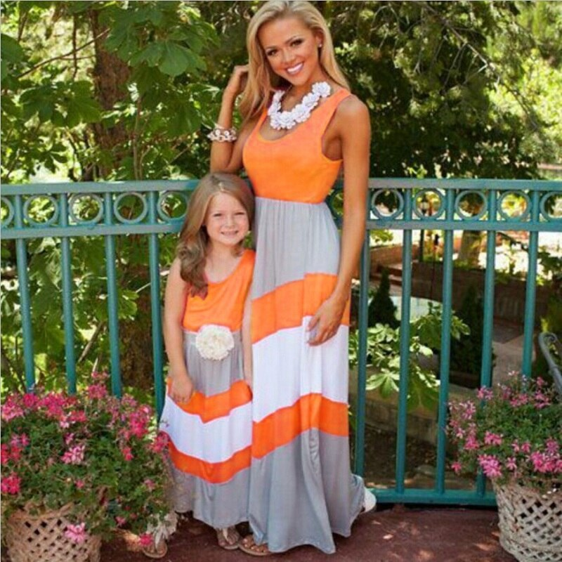 Summer Family Matching Outfits Mommy and Me Mother Daughter Dresses Family Set Maxi Long Dress Mama Mum kids baby Beach Clothes
