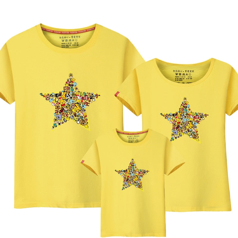1 Piece Family Mother Daughter T-shirts Summer Cartoon Animals And Star Tshirt Matching Mother Father Son Mommy And Me Clothes