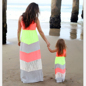 Mom Mother and Daughter Dresses mama mommy and me baby Daughter Matching Clothes Family Clothing Beach Bohemian Long Maxi Dress