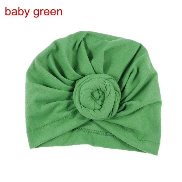 NISHINE New Mommy And Me Cotton Blend Rose Flower Hat Women Caps Girls Newborn Turban Hats Twist Knot Headwear Hair Accessories