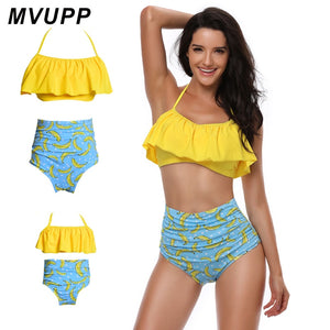 MVUPP family matching outfits mom and daughter swimwear solid banana print high waist swimsuit mommy and me clothes Bikini swim