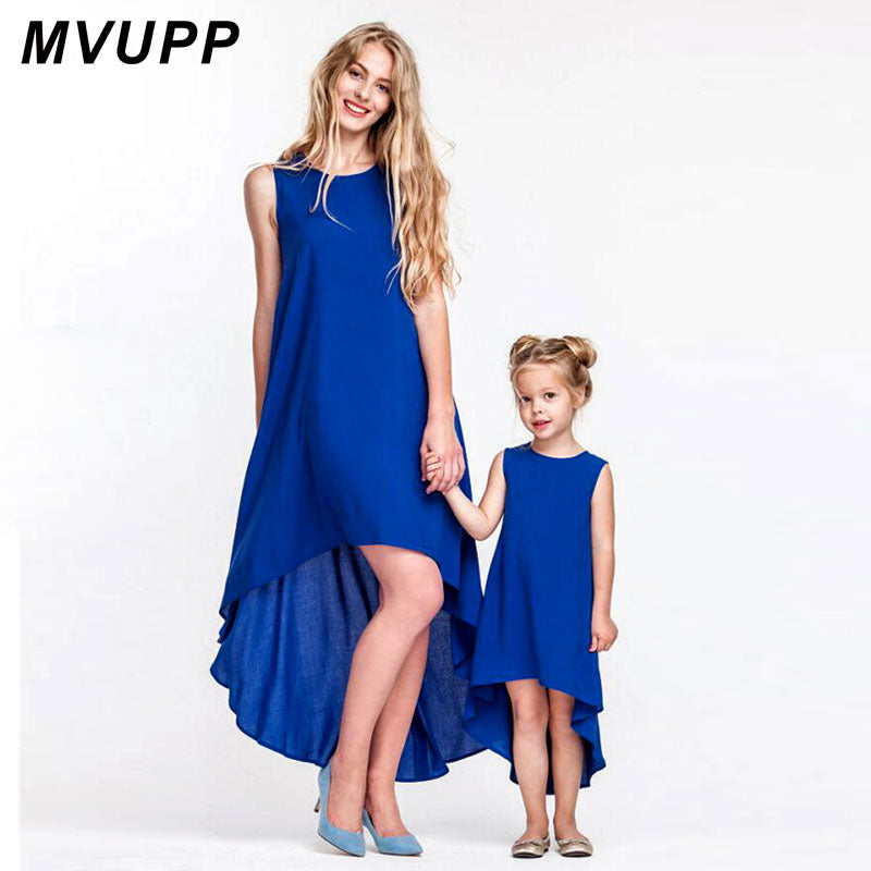 MVUPP mother daughter dresses family matching outfits crew blue solid behemian ankle-length mommy and me toddler girls clothing
