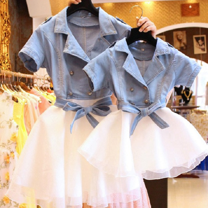 Mather Daughter Tutu Dresses 2 Two Pieces Set Denim Shirt+ White Tutu Skirt Family Matching Outfits Clothes Mommy and Me Dress
