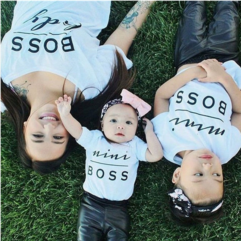 mommy and me mother daughter clothes family matching outfits look tshirt mom Father son baby Boys Girls Mini Boss t-shirt dress