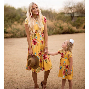 Mother Daughter Dresses Casual Short Sleeve Mommy And Me Clothes Floral Print Family Matching Clothes Dresses