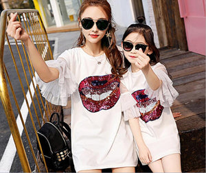 Mother Daughter Dresses Matching Mom and Daughter Clothes Sequins Ruffle Sleeve Family Matching Clothes Mommy and Me Dress 2018