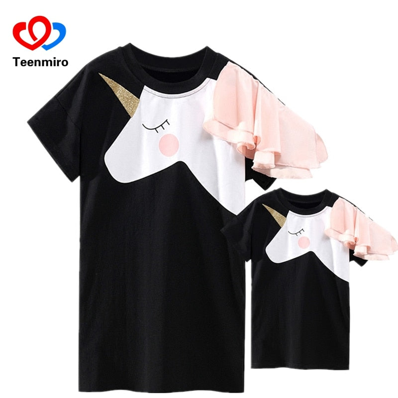 Family Matching Clothes Mother Daughter Dresses Matches Unicorn Dress T-shirt for Mom Mommy & Me 3D Print Clothing Funny Outfits