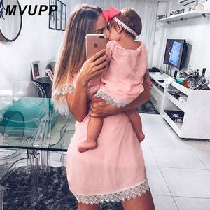 MVUPP mother daughter dresses Solid Fashion for mommy and me clothes family look mom baby elegant dress matching outfits summer