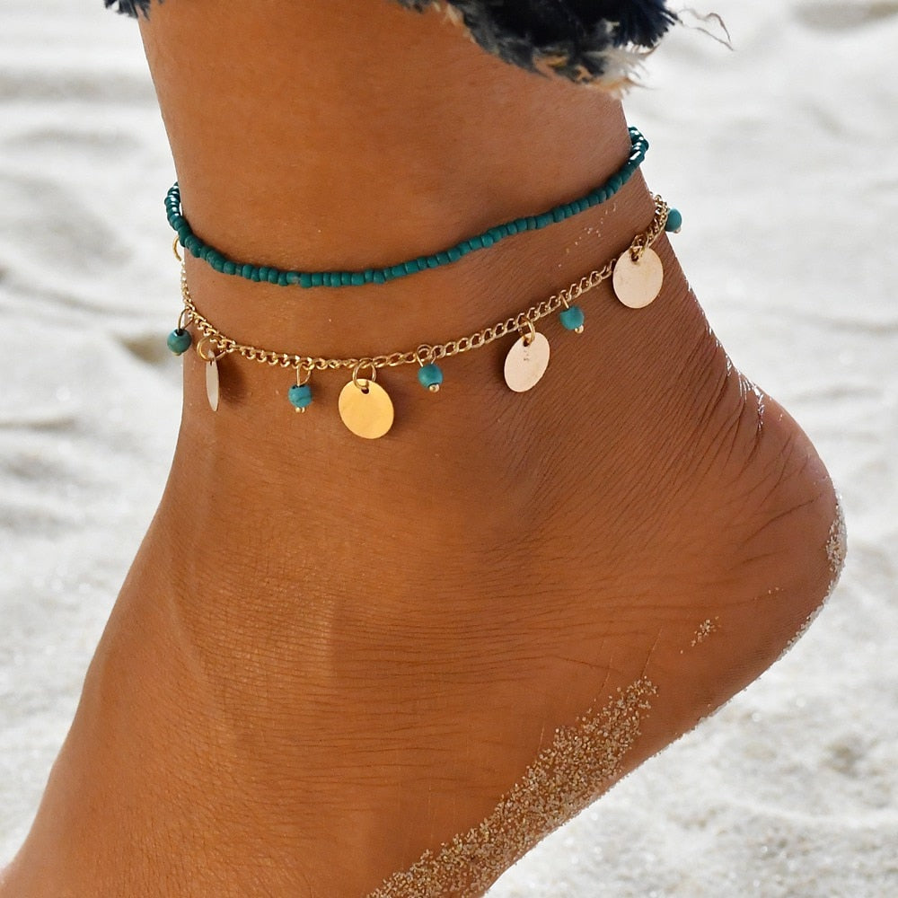 MissCyCy Bohemian Beads Ankle Bracelet for Women Leg Chain Round Tassel Anklet Vintage Foot Jewelry Accessories