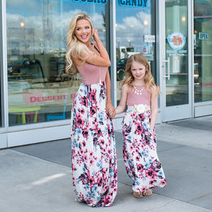 Flower Mum and daughter dress Mother daughter Clothes family matching dress sleeveless printed mommy and me dresses Family look
