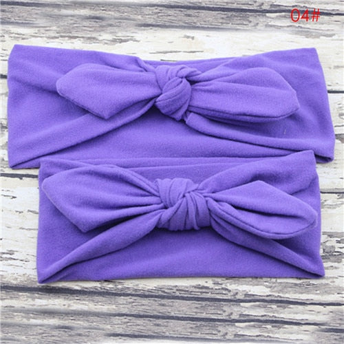 Puseky Mom and Me Headband Bows Bunny Ear Headbands Baby Infant Toddler Hair Accessories Headwear Turban Baby and Mommy Headwrap