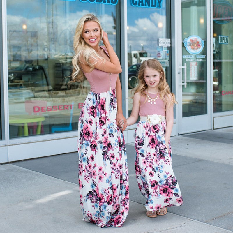 Mommy and Me Matching Mum Mother Daughter Baby Clothes Family Look Pajamas Floral Behemian Long Clothing Mom and Daughter Dress