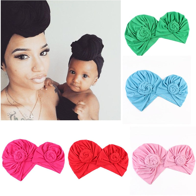 Mommy and Me Cotton Hat Turban Knot Girls Hat Bohemian Style Kids Newborn Cap Mother Kids Matching Warm Beanies D0905