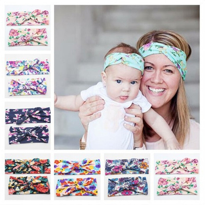 2Pcs/Set Mom and Me Boho Turban Headband Top Knotted Rabbit Ears Elastic Bowknot Matching Headband Newborn and Mommy Hair Band
