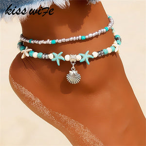 KISSWIFE Vintage Shell Beads Anklets For Women New Multi Layer Anklet Leg Bracelet Bohemian Beach Ankle Chain Jewelry Gift
