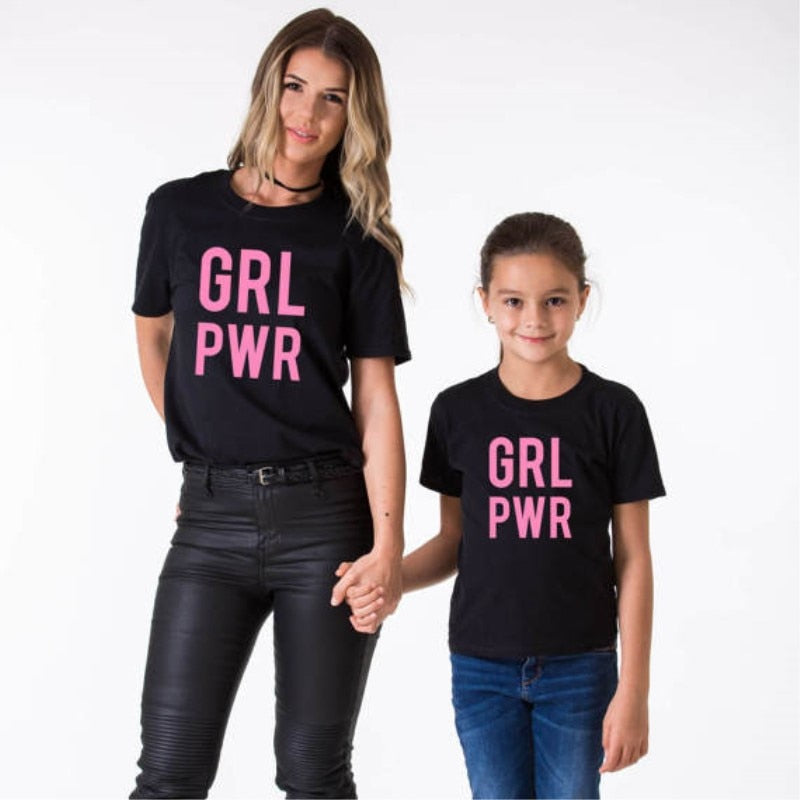 Mommy Daughter Tshirt Outfits GRL POWR Mother and Me Kids Tees Mom Girl Clothes Women Mama Cotton Family Matching Clothes Tops