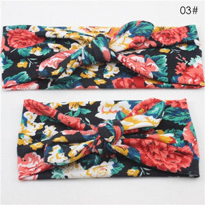 Puseky 2Pcs/Set Mommy and Me Matching Turban Headband Set Fashion Bohemian Floral Topknot Head Wrap for Mom and daughter Gifts