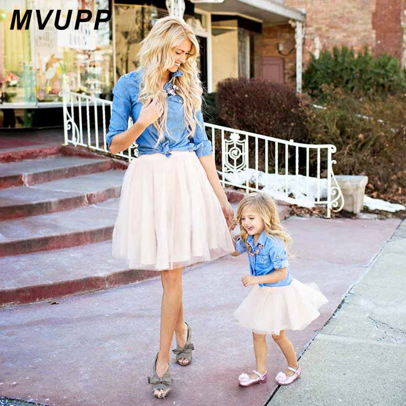mother daughter dresses cowboy shirt denim lace mommy and me dress matching outfits pocket family look clothes mum baby clothing