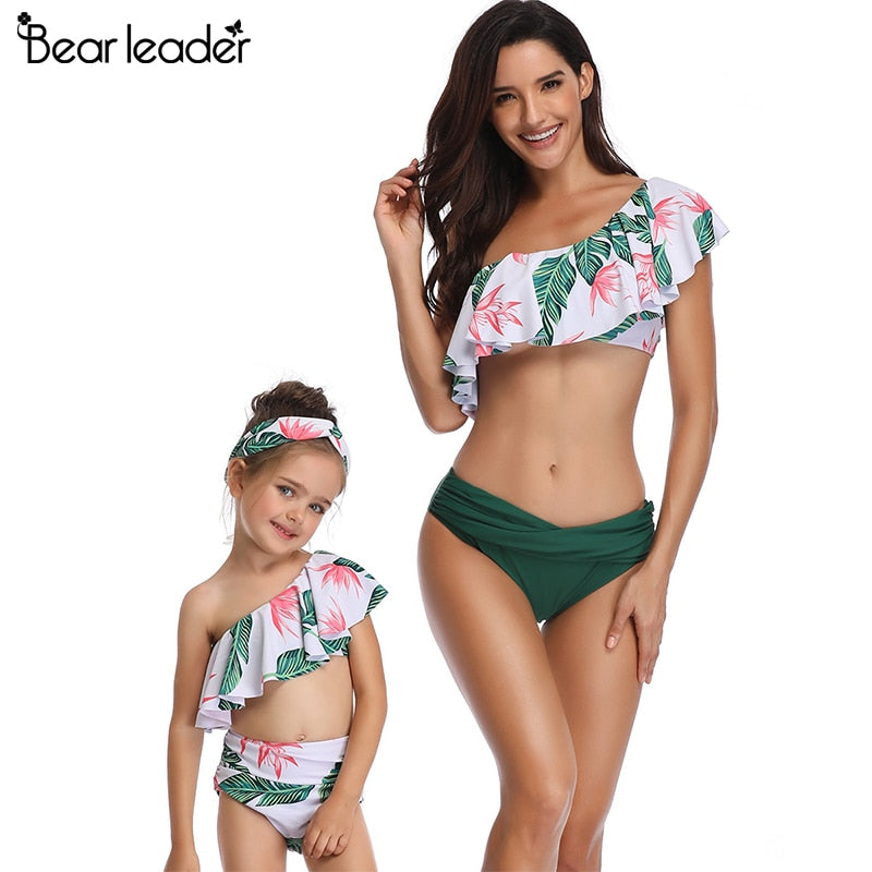 Bear Leader mother and daughter swimsuit mommy and me swimwear family matching clothes outfits look mom  baby dresses clothing