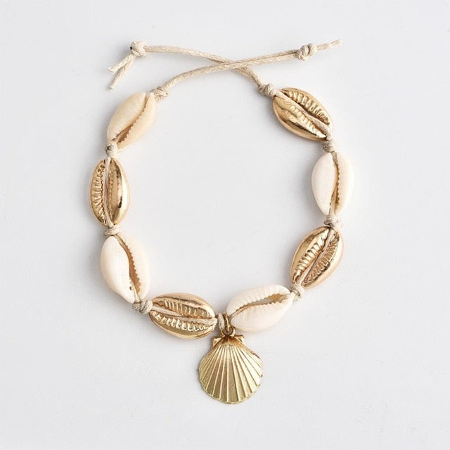 Vintage Antique Gold Color Anklet Women shell sequins Beads Geometric Bracelet Charm Bohemian Ankle Bracelet Boho Foot Jewelry
