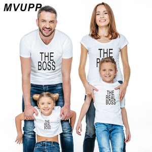 REAL BOSS t shirt mother daughter father son clothes mommy and me matching outfits baby girl family look clothing letter Fashion