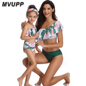 Mother Daughter Swimwear Mommy and Me Bikini Bathing Swimsuit Brachwear Family Matching Mom Daughter Clothes Look Floral Printed