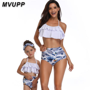 beach mother daughte swimsuit mommy and me clothes family matching outfits bathing suit mum mom swimwear look big litter sisters