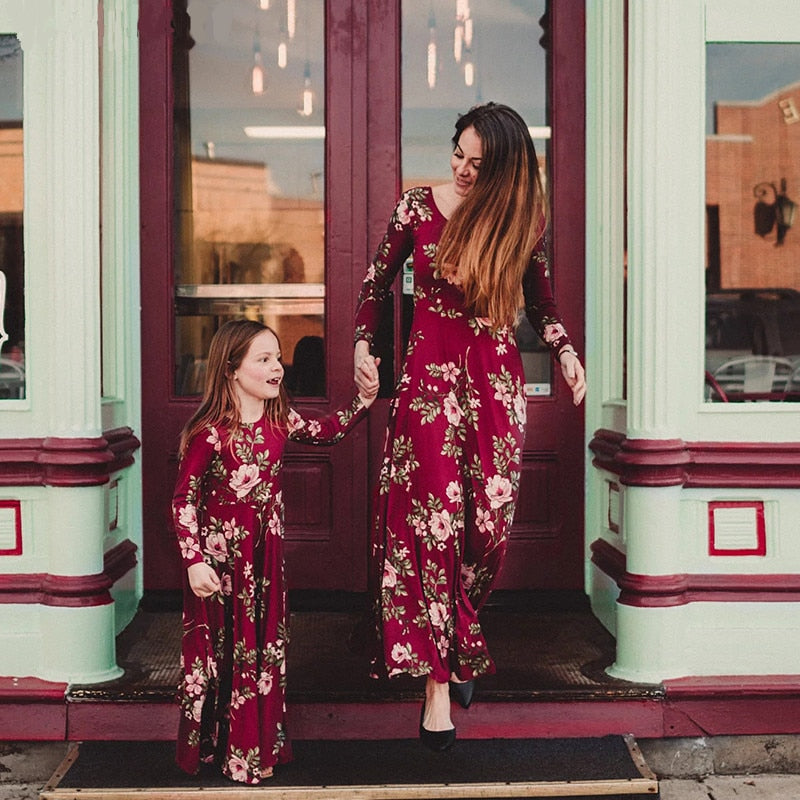 LILIGIRL Mommy and Me Dress Baby Girls Clothes Wine Floral Print Vestidos Mom Daughter Dresses Family Matching Clothes Outfits
