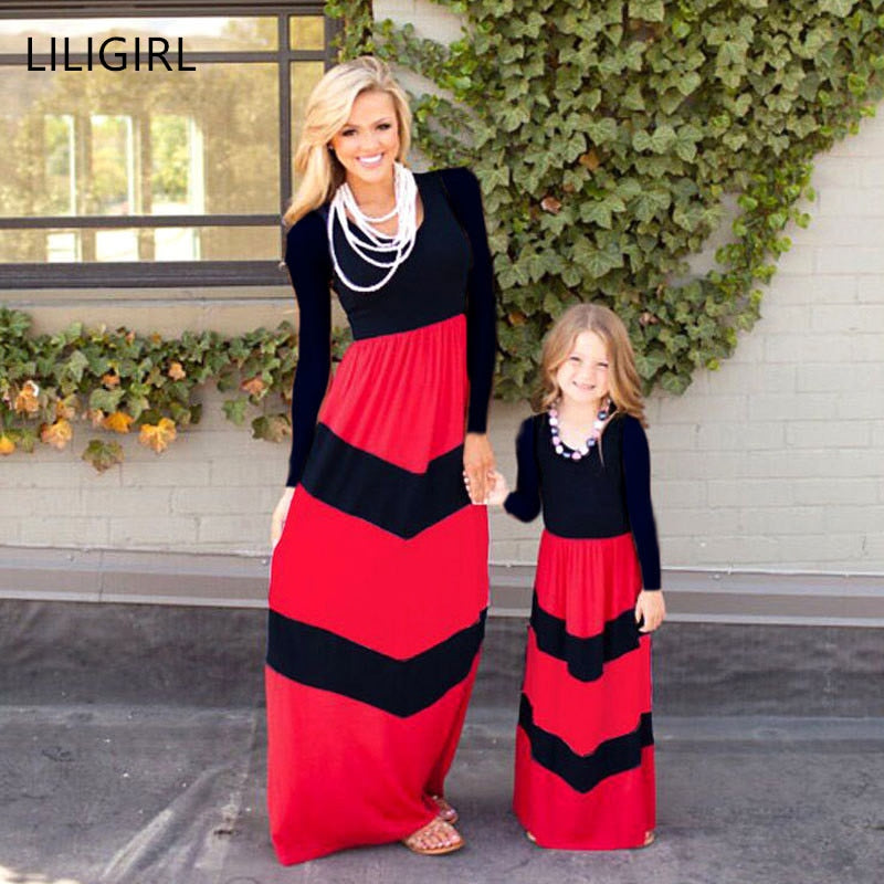 LILIGIRL Long-Girls Princess Dress 2019 New Mommy and Me Family Look Mother Daughter Dresses for Family Matching Clothes Outfits