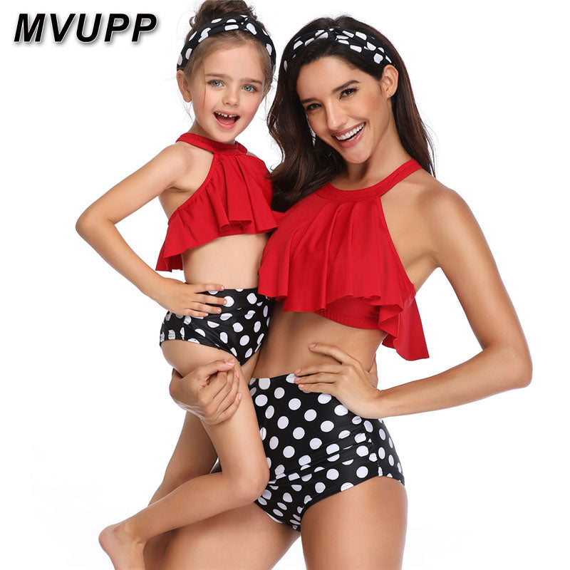 Family swimsuit mommy and me clothes mother daughter matching outfits swimwear Polka Dot bikni high waist vintage look mom baby