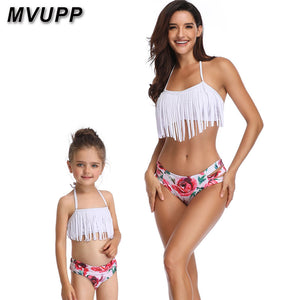 MVUPP mother and daughter swimwear clothes family matching outfits High Waist Bikini mom mommy me swimsuit look Tassels Floral
