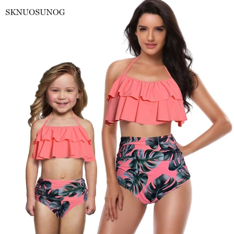 mother and daughter swimsuit mommy and me swimwear bikini family matching clothes outfits look mom baby dresses clothing C0259