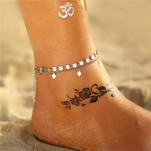 11 New Fashion Bohemian Anklet Set For Women Gold Leaves Anklets 2019 Bracelet On Leg Barefoot DIY Foot Jewelry Accessories