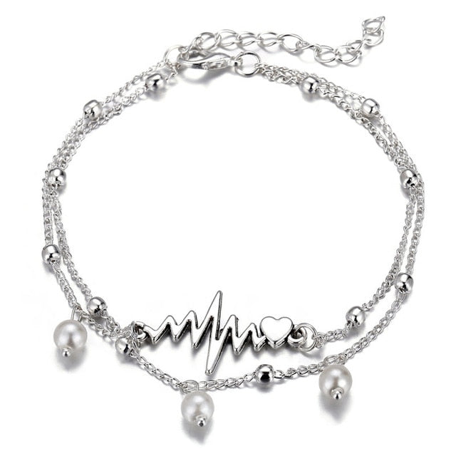 17KM 6 Design Fashion Anklets Bracelet For Ankle 2019 Vintage Silver Simulation Pearl Heart Beads Anklet Woman Bohemian Jewelry